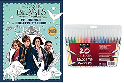 Fantastic Beasts Gift Set - Fantastic Beasts and Where to Find Them Coloring Book & Activity Book, Includes Stickers, & 20 Sargent Art Firm Brush Tip Marker Pens - Gifts For All (The Pixies Deluxe)