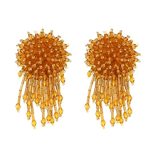 Boho Crystal Beads Fashion Women Statement Dangle Drop Earrings For Women Champagne