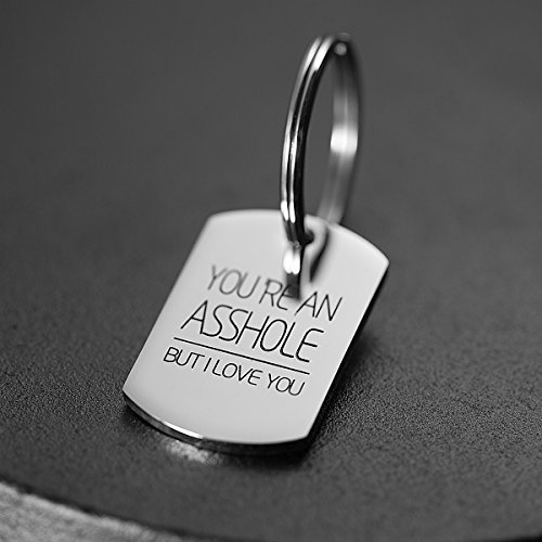 omodofo Valentine's Day Funny Keychain Dog Tag Charm Keyring Couples Love Lettering (You're An Asshole But I Love You) by omodofo (Image #3)'
