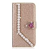 Miagon Diamond Case for Huawei P30,Luxury Glitter Rhinestone Pearl Heart PU Leather Folio Flip Wallet Cover Magnetic Closure Card Slots,Gold