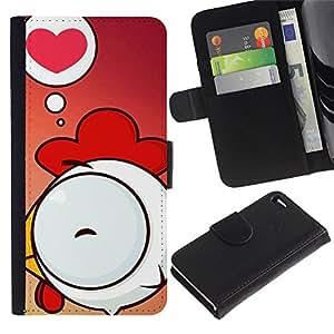 ZONECELL Imagen Frontal Negro Cuero Tarjeta Ranura Trasera Funda Carcasa Diseño Tapa Cover Skin Protectora Case Para Apple Iphone 4 / 4S - amor lindo pollo