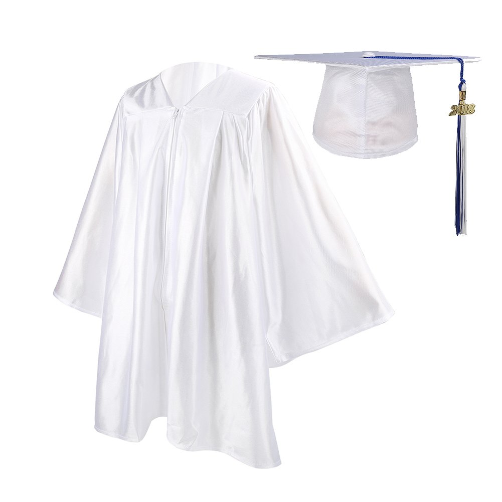 Ninuo Shiny Kindergarten Graduation Gown Cap Tassel Set 2018 Costume Robes for Baby Todder Kids Photography (White, 36(Height 4'3''-4'5''))