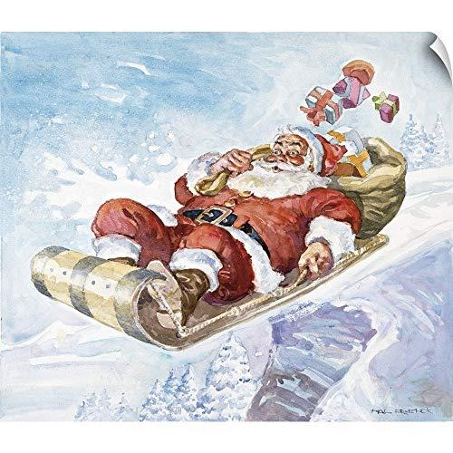 CANVAS ON DEMAND Santa's New Sleigh Wall Peel Art Print, 16