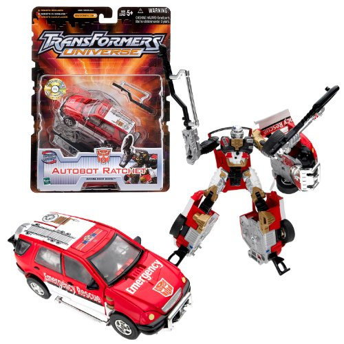 Hasbro Year 2003 Transformers UNIVERSE Series Exclusive Deluxe Class 6 Inch Tall Robot Action Figure - AUTOBOT RATCHET with 2 Battle Weapons Plus Bonus CD Movie for PC (Vehicle Mode: Emergency Response SUV)