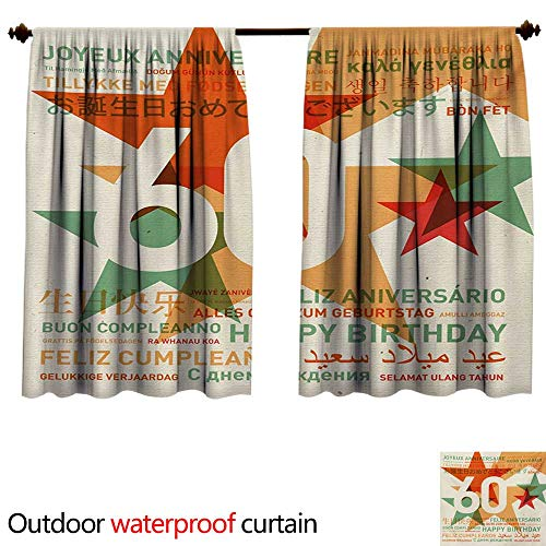 58th Birthdayshade Curtain outdoorWorld Cities Birthday Party Theme with Abstract Stars PrintAnti-Water W72 x L72(183cm x 183cm) Green Vermilion and White