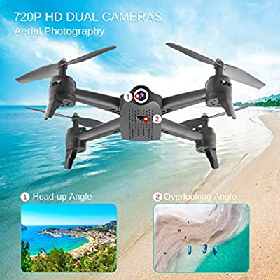 ALLCACA FPV RC Drone with Dual 720P HD Camera Live Video, Gesture Control WiFi Quadcopter with 3D Flips, GPS Return Home, Headless Mode, Gravity Sensor, Altitude Hold for Kids Beginners, Black