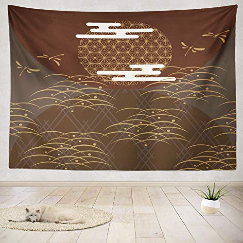 ONELZ Decor Collection, Gold Line with Japanese Dragonfly Grass Moon Cloud Art Asia Asian Border Bedroom Living Room Dorm Wall Hanging Tapestry 60