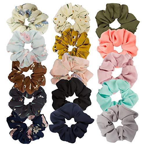 Ahoney 5 Pack Large Chiffon Flower Hair Scrunchies Elastics Hair Scrunchie Scrunchy Hair Ties Ponytail Holder for Women (15 Pack)