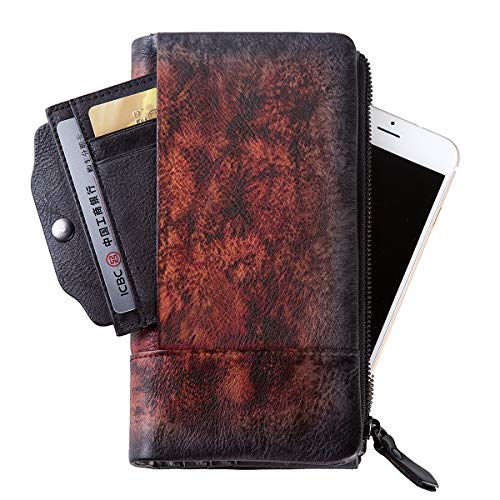 Removable ZLYC Red Purse Leather Handmade Holder Card Dip Fire Vintage Wallet Clutch Long with Dye SBxrvaqRwS