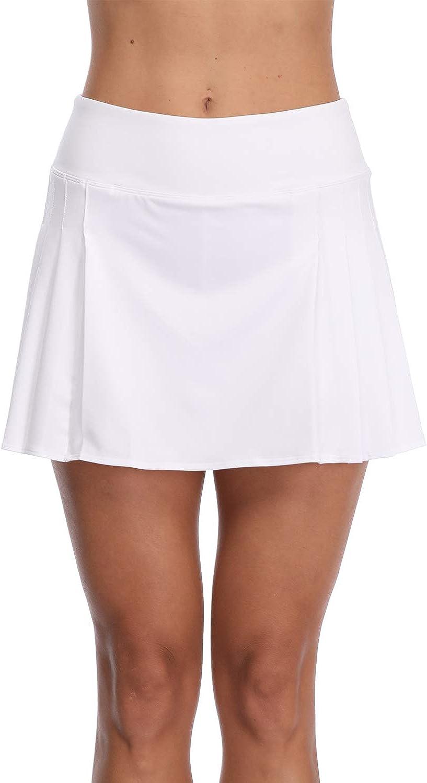 32e-SANERYI Women's Pleated Elastic Quick-Drying Tennis Skirt with Shorts Running Skort-WXL White: Clothing