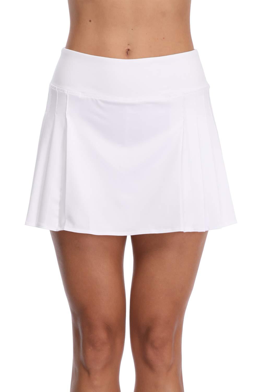 32e-SANERYI Women's Pleated Elastic Quick-Drying Tennis Skirt with Shorts Running Skort-WL White by 32e-SANERYI