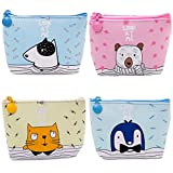 fish earbuds - Oyachic 4 Packs Portable Coin Purse Small Change Pouch Zip Wallet Card Case Key Bag Christmas Birthday Gift (Cat, Bear, Dog, Penguin)