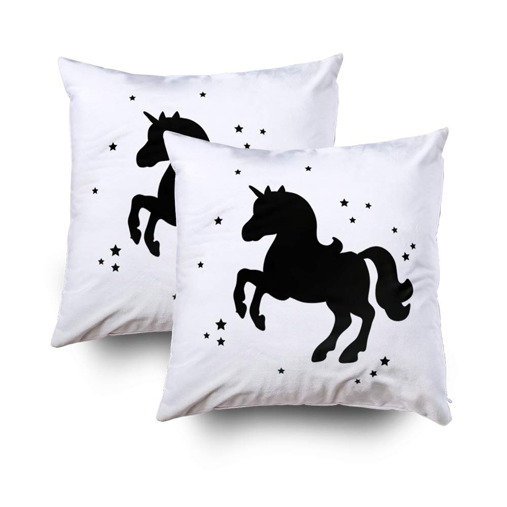 GROOTEY Decorative Cotton Square Set of 2 Pillow Case Covers with Zippered Closing for Home Sofa Decor Size 16X16Inch Costom Pillowcse Throw Cover Cushion,Card with Cute Unicorn Magic Unicorn Poster
