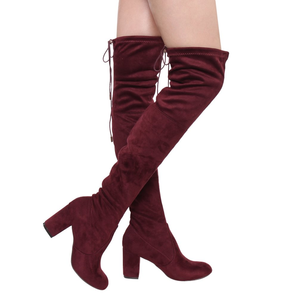 Burgundy ShoBeautiful Women's Thigh High Boots Stretchy Over The Knee Chunky Block Heel Boots