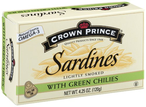 - Crown Prince Sardines with Green Chilies, 4.25-Ounce Cans (Pack of 12)