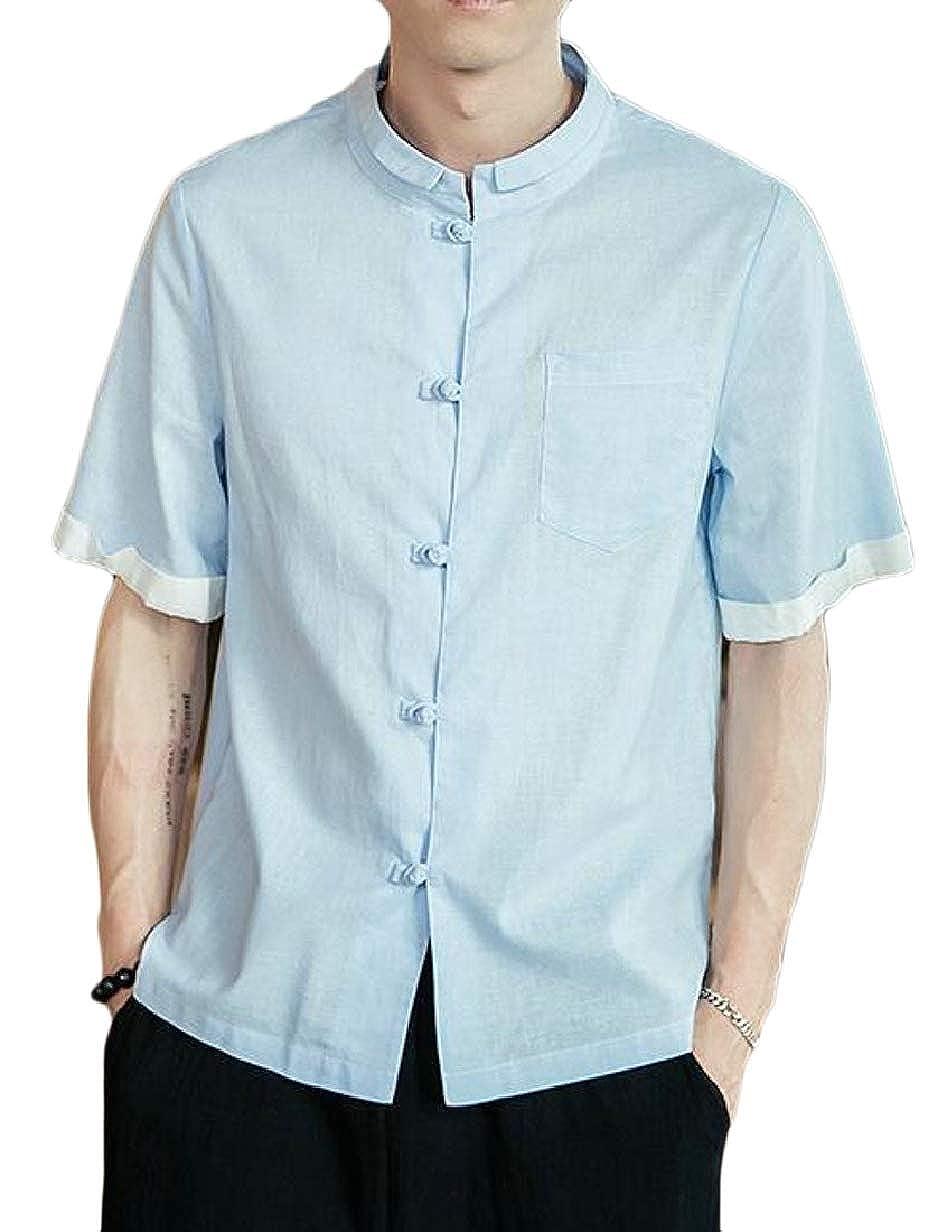 CBTLVSN Men Casual Frog Button Linen Solid Stand Collar Short Sleeve Shirt Tops