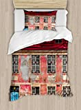 Ambesonne Urban Duvet Cover Set Twin Size, Old Aged Building in Ancient City Tallinn Estonia Antique Structure Windows, Decorative 2 Piece Bedding Set with 1 Pillow Sham, Ruby Pink Sky Blue