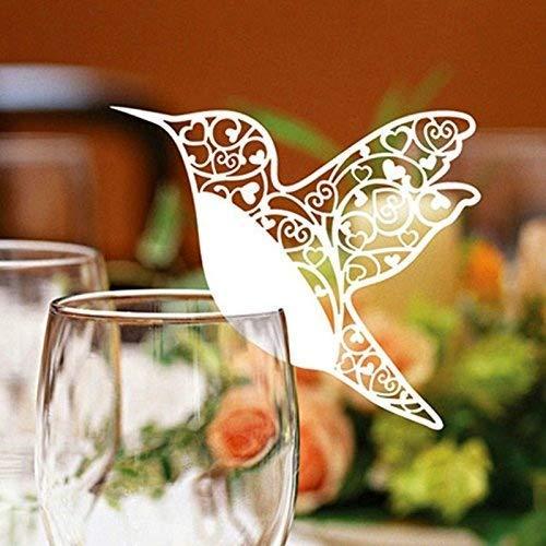 Hinleise Laser cut avorio colibr/ì Nome segnaposti per bicchiere da vino Nome tag card 50pcs For Art Craft