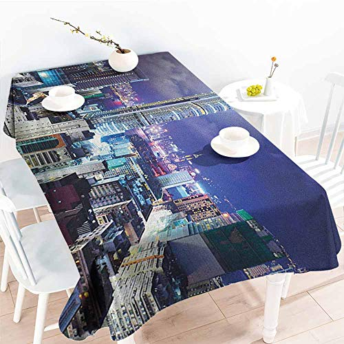 Willsd Small Rectangular Tablecloth,City Downtown in Hong Kong