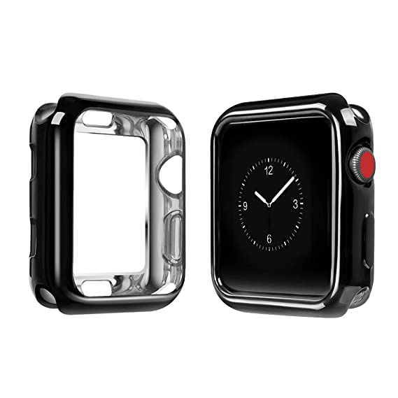 7037561bc95 Para Funda de Apple Watch, top4cus Funda protectora plateada ligera de TPU  flexible resistente a los ...