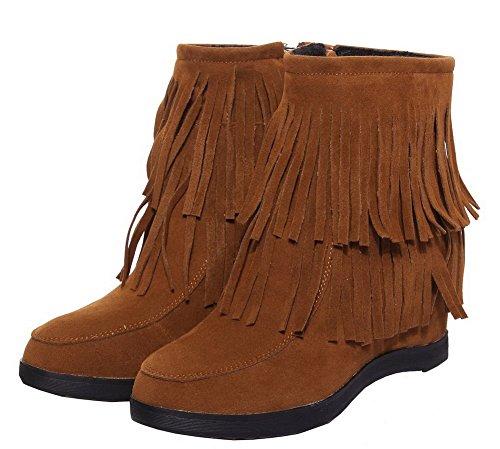 Donna Boots Tonda Tirare Frange Shoes Punta Basso Heels Eux113 Brun Ageemi Low With 5f8awqxxt