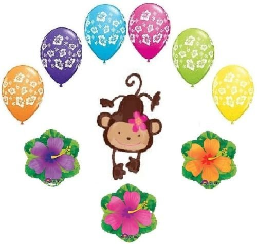 LoonBalloon MONKEY Love Mod Tropical Hibiscus Flower Luau