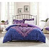 Purple Bed in a Bag Mainstay Grace Medallion Purple Bed in a Bag Complete Bedding Set, Queen