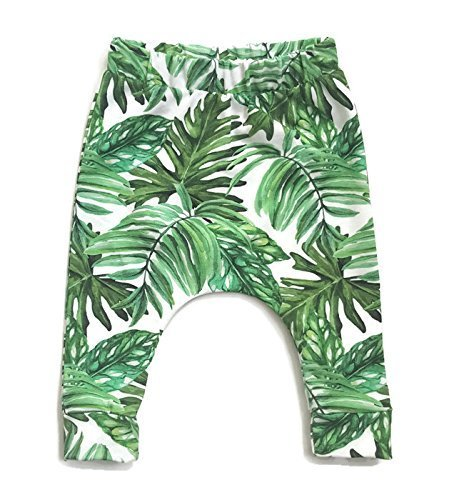 Baby and toddler pants with green botanical leaves