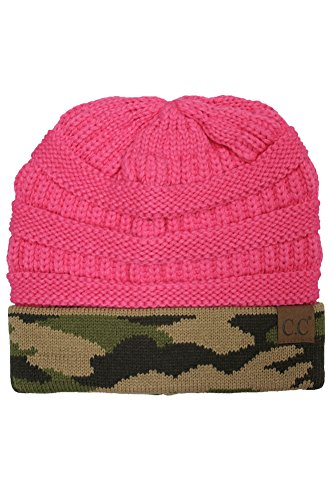 Hot Fall Camo (ScarvesMe CC Hot and New Camouflage Camo Print Knit Cuff Beanie Warm Winter Hat Skully Cap (New Candy Pink))