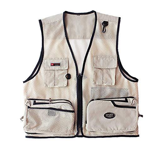 Gilet Funzionale Beige Outdoor Uomo Con Leggermente Senza Da Giubbotto Maglia Vest Maniche Chiusura Anca Giovane Leggera Traspirante PAx4qq