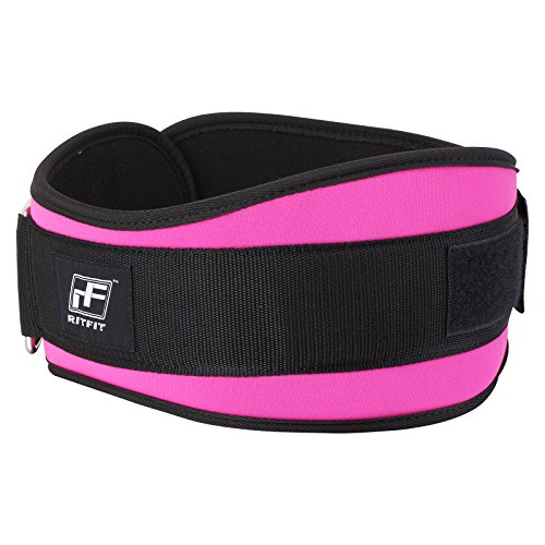New Year Deal RitFit Women's Weight Lifting Belt Great for Squats, Crossfit, Lunges, Deadlift, Thrusters 6 Inches Pink Firm & Comfortable Lumbar Support with Back Injury Protection