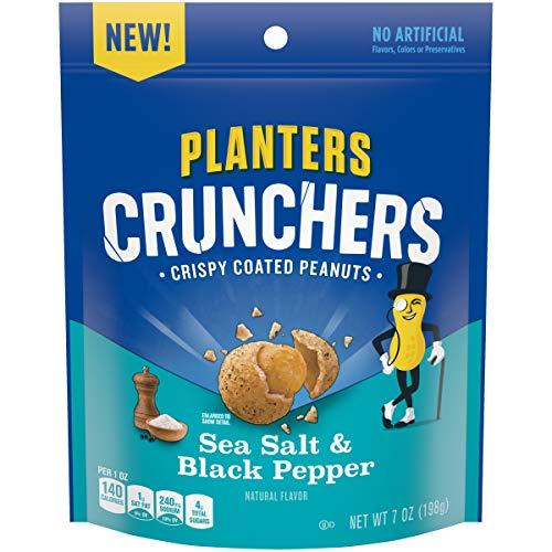 Planters Crunchers Sea Salt & Black Pepper Crispy Coated Peanuts, 7 oz Bag