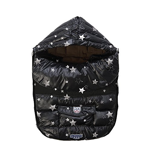 - 7 A.M. Enfant Shield Extendable Baby Bunting Bag Adaptable for Strollers, Print Black Stars, Large