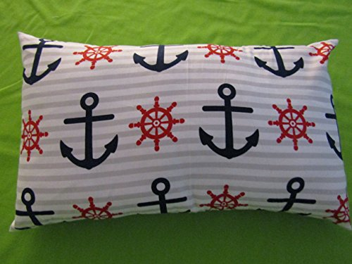 "Anchor PILLOWCASE with pillow, Size 13""x 18"", throw pillow, neck or travel , bed , sofa, stroller, Toddlers. Kids, Girl, Hypoallergenic , washable. Navy Blue, Red . Striped."