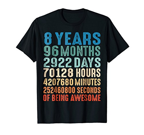 8 Years Old 8th Birthday Vintage Retro T Shirt 96 Months]()