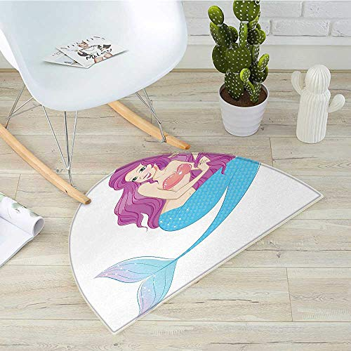 "Mermaid Semicircle Doormat Cute Mermaid Playing with Her Hair Folkloric Mythical Goddess Princess Halfmoon doormats H 51.1"" xD 76.7"" Turquoise Fuscia White"
