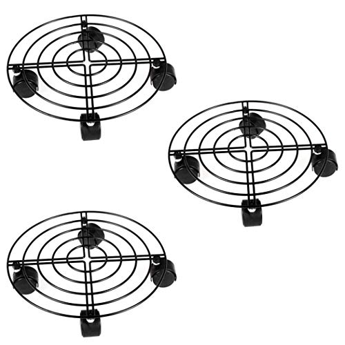 Moutik 3 Pack Round Plant Caddy, Metal Plant Stand on Roller Patio Flower Pot Rack Plant Holder with Lockable Omnidirectional Wheels Indoor/Outdoor Black