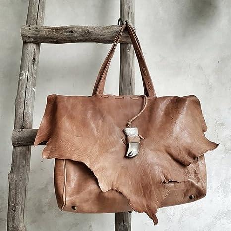 bolso cuero hecho a mano por artesanos en marruecos, bolso estilo boho chic, bohemio, regalo mujer, bolso de mano, cartera cuero,: Amazon.es: Hogar