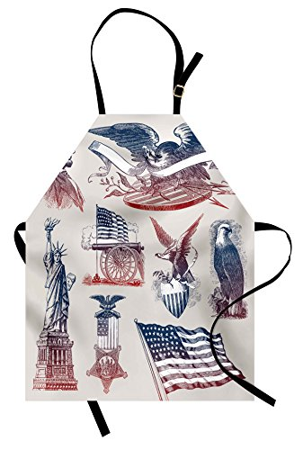 Lunarable American Apron, Vintage National Symbols Hand Drawn Style Abraham Lincoln Eagle Statue of Liberty, Unisex Kitchen Bib Apron with Adjustable Neck for Cooking Baking Gardening, Multicolor ()