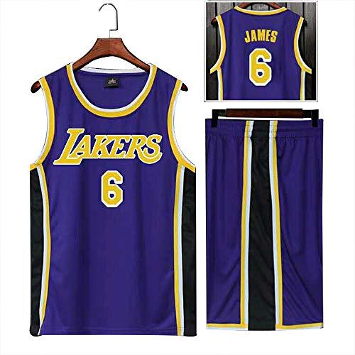 YDD NBA Kid Jersey Set #6 Lakers James,Summer Sports Basketball Jersey Basketball Jersey Top Including Shorts Basketball Shirt Training Wear,Blue5XL(90~100kg)