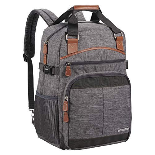 Clark & Mayfield Reed Backpack 17 - Slate Grey with Brown Trim