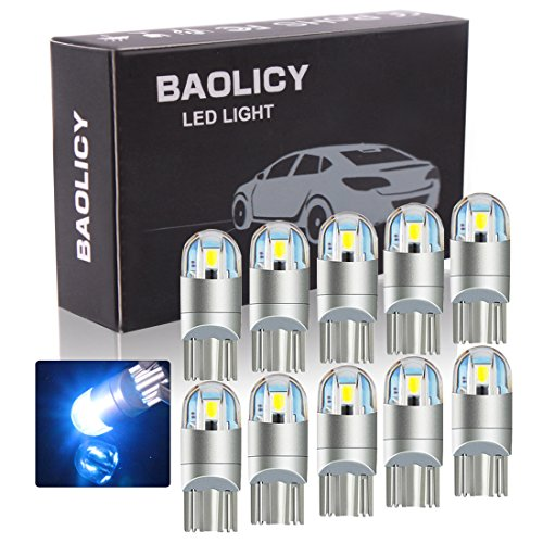 BAOLICY T10 W5W Led Bulbs, 194 2825 168 Led Light Bulbs Blue, License Plate Light Bulbs for Car Interior Dome Map Door Turn Signal Trunk Compact Wedge Parking Side Dashboard Light(10PCS)