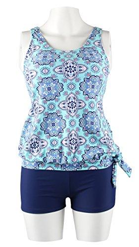 Tie Blouson - Miturn Womens Bandeau Printed Tie Side Blouson Tankini Tops Two Pieces Swimsuit Set Swimwear