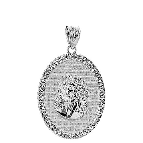 Sterling Silver Cuban Link Framed Jesus Face Oval Medallion Pendant - Framed Oval Pendant
