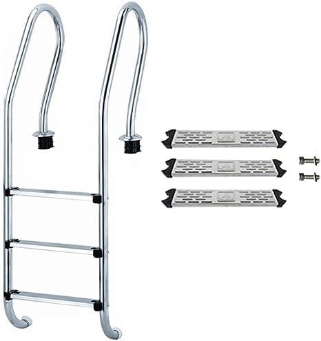 Escalera de piscina Escalera de recambio de acero de peldaño para piscinas enterradas Escalera de acero inoxidable de servicio pesado Pasos de baño duraderos antideslizantes con patas de fácil montaje: Amazon.es: Deportes
