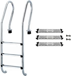 Yunhigh-uk Escalera de Piscina de Acero Inoxidable Pedal de Escalera Antideslizante de Repuesto de 3 Pasos: Amazon.es: Hogar