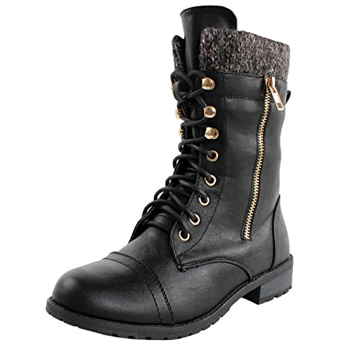 Forever Link Womens Mango-31 Round Toe Military Lace Up Knitted Ankle Cuff Low Heel Combat Boots,Black,10