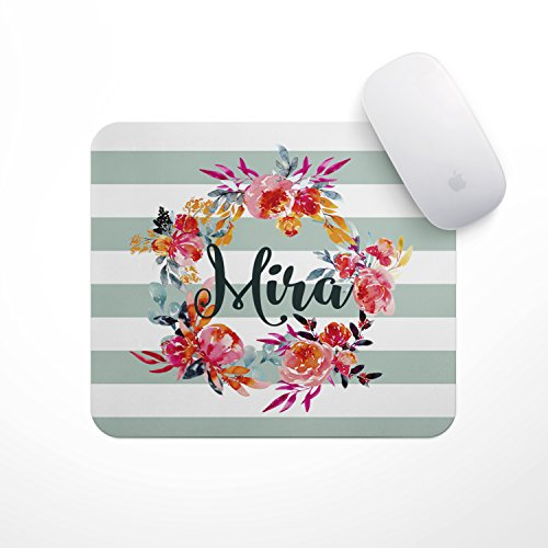 (Personalized Mouse Pad - Pale Stripe Floral Wreath Custom Personalize Gift Mousepad- Neoprene Mouse Pad - Office Desk Decor - Gaming Mousepads)