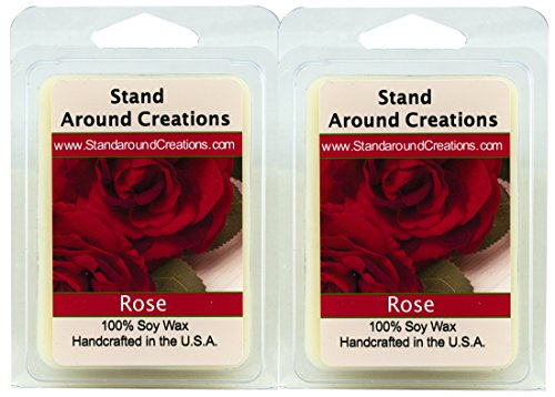 (100% All Natural Soy Wax Melt Tarts - Set of 2 - Rose: A garden of red roses blooms from this artistically designed floral bouquet. - 3ozs.ea.- Naturally Strong Scented)