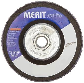 """Merit Flap Disc, Type 29, , 5/8""""-11 Arbor, Zirconia Alumina, 4-1/2"""" Diameter, Grit 40  (Pack of 10)"""